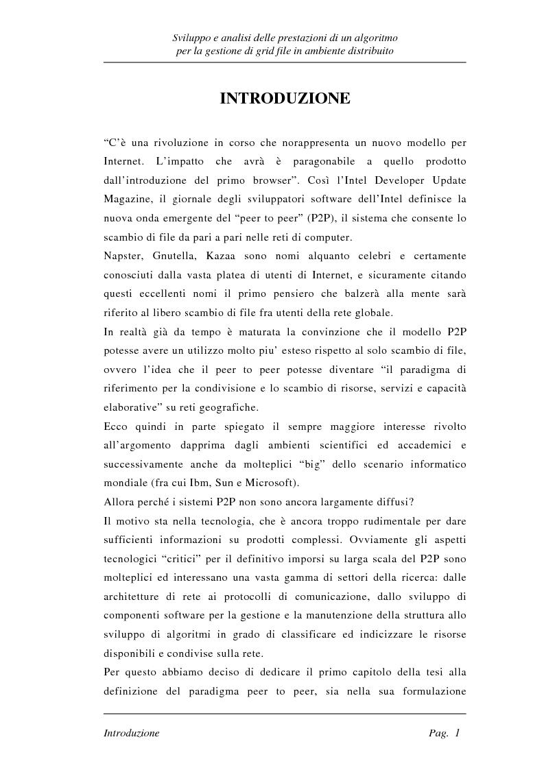 Anteprima della tesi: Sviluppo e analisi delle prestazioni di un algoritmo per la gestione di grid file distribuiti, Pagina 1