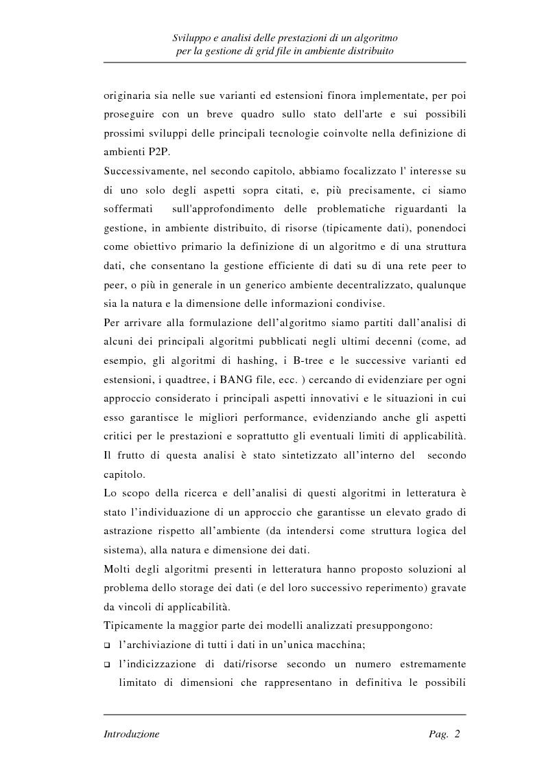 Anteprima della tesi: Sviluppo e analisi delle prestazioni di un algoritmo per la gestione di grid file distribuiti, Pagina 2