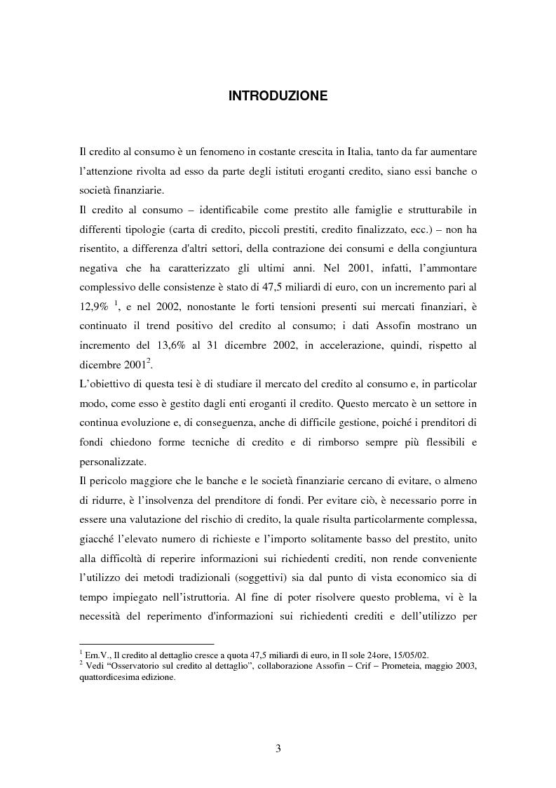 Anteprima della tesi: Il settore del credito al consumo: l'esperienza del Gruppo MPS, Pagina 1