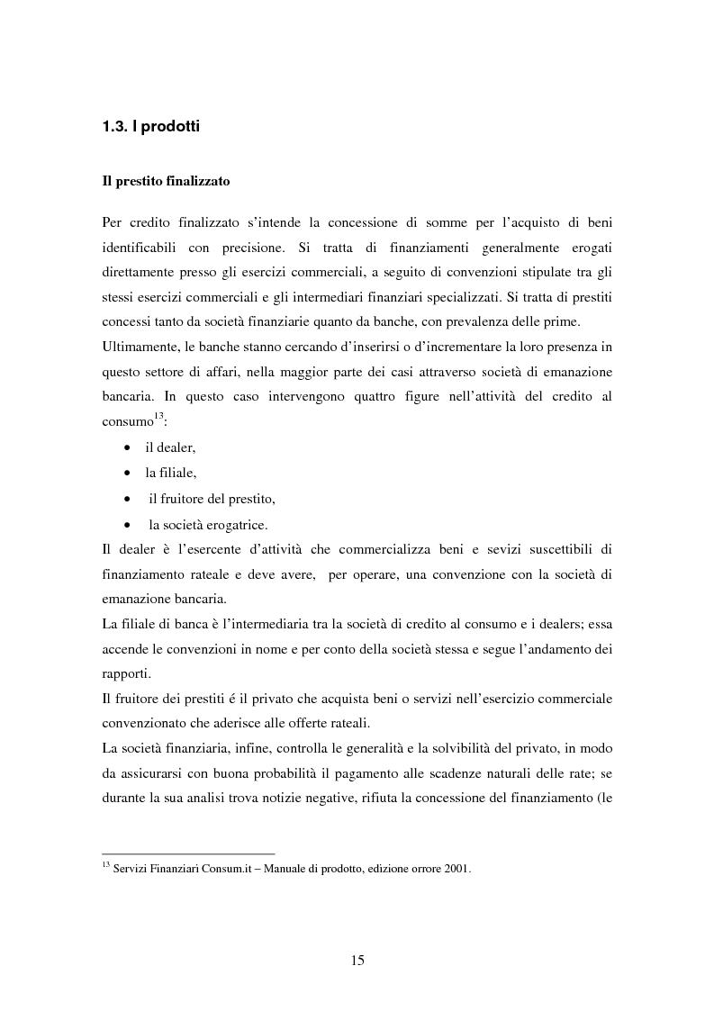 Anteprima della tesi: Il settore del credito al consumo: l'esperienza del Gruppo MPS, Pagina 13