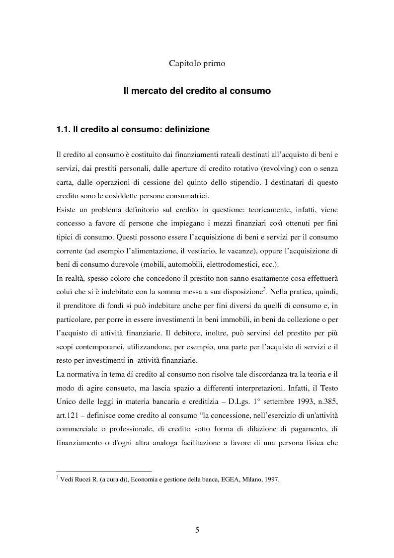 Anteprima della tesi: Il settore del credito al consumo: l'esperienza del Gruppo MPS, Pagina 3