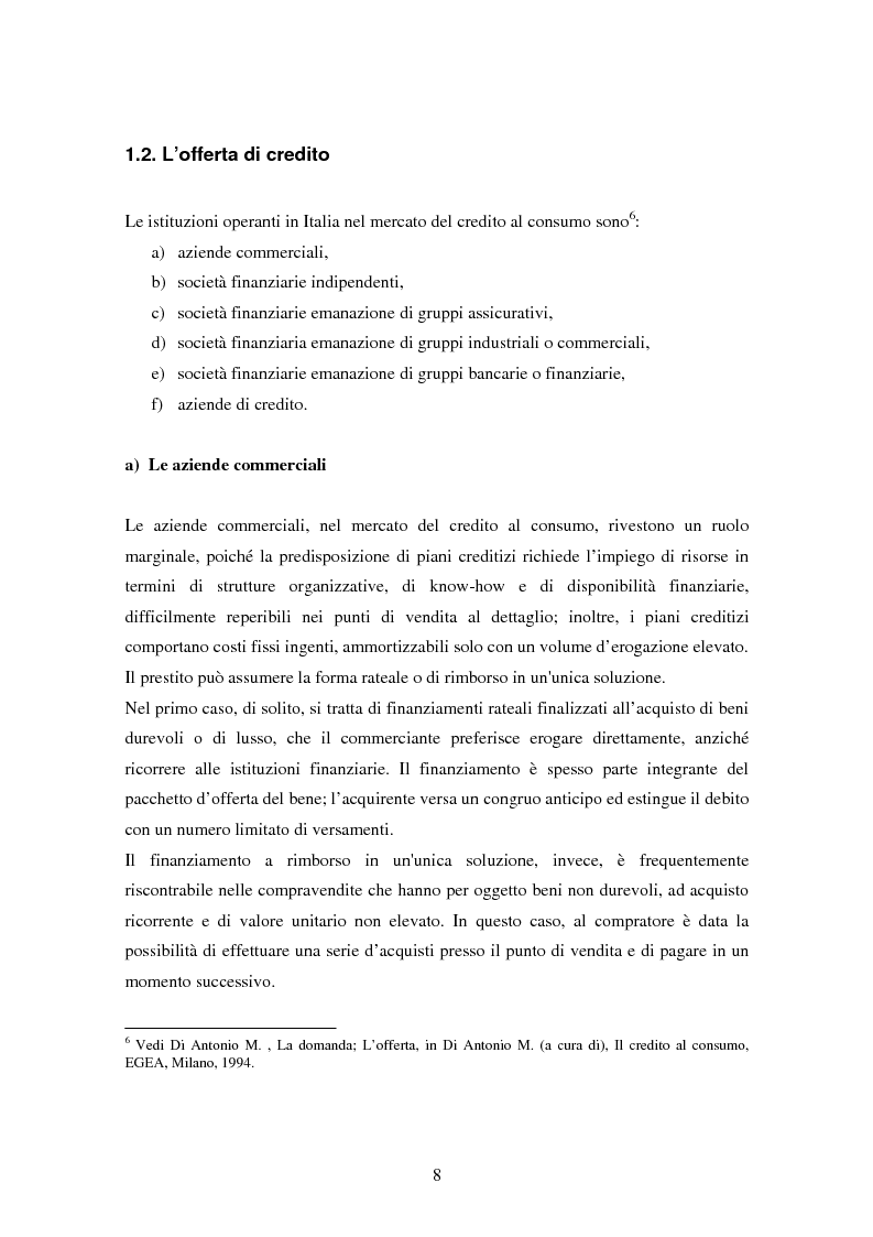 Anteprima della tesi: Il settore del credito al consumo: l'esperienza del Gruppo MPS, Pagina 6
