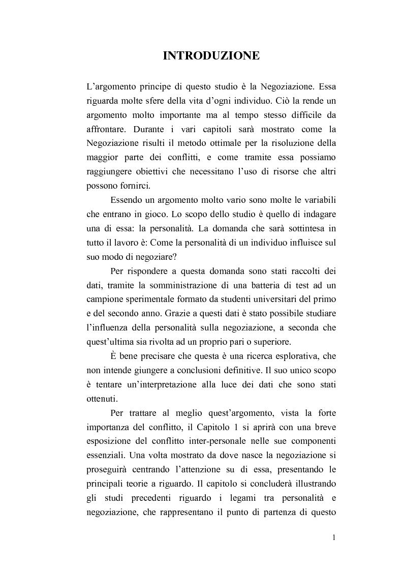 Anteprima della tesi: Personalità e strategie negoziali: una ricerca esplorativa, Pagina 1