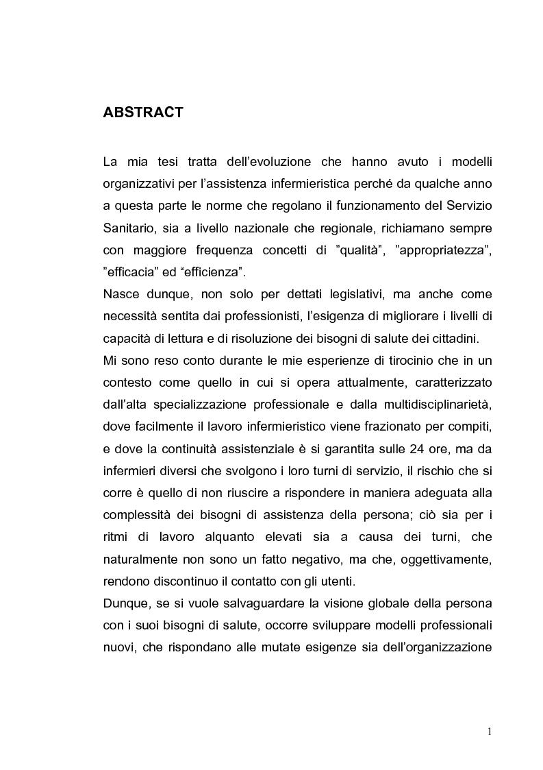 Anteprima della tesi: L'evoluzione dei modelli organizzativi per l'assistenza infermieristica, Pagina 1