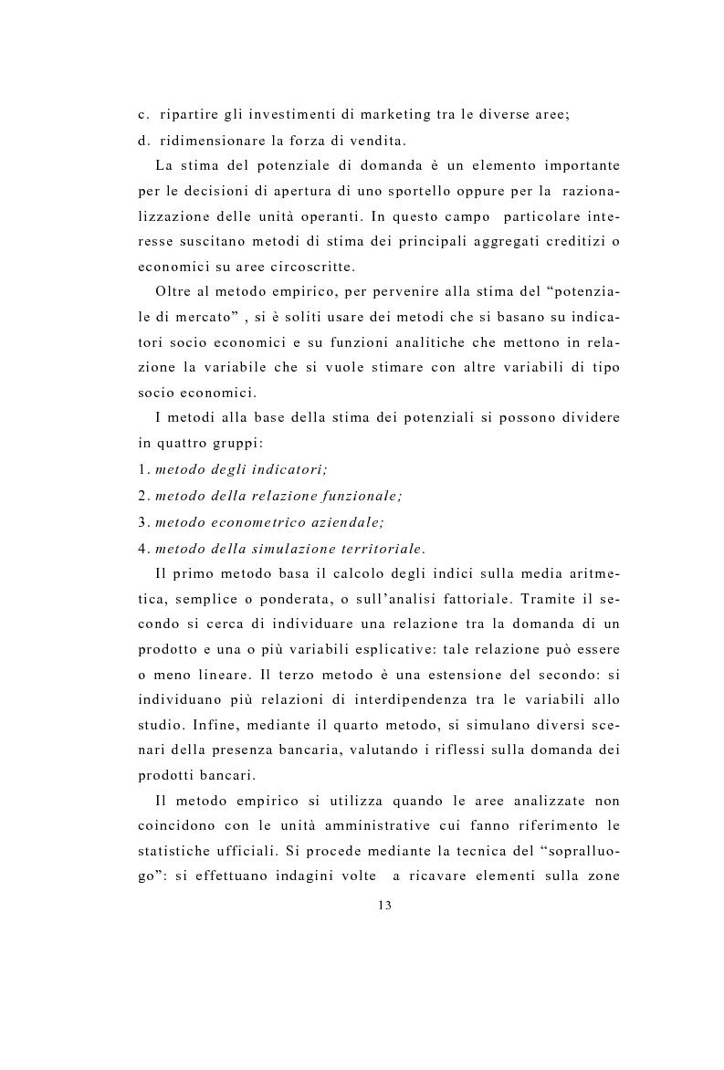 Anteprima della tesi: Definizione e stima del potenziale territoriale del mercato bancario, Pagina 11