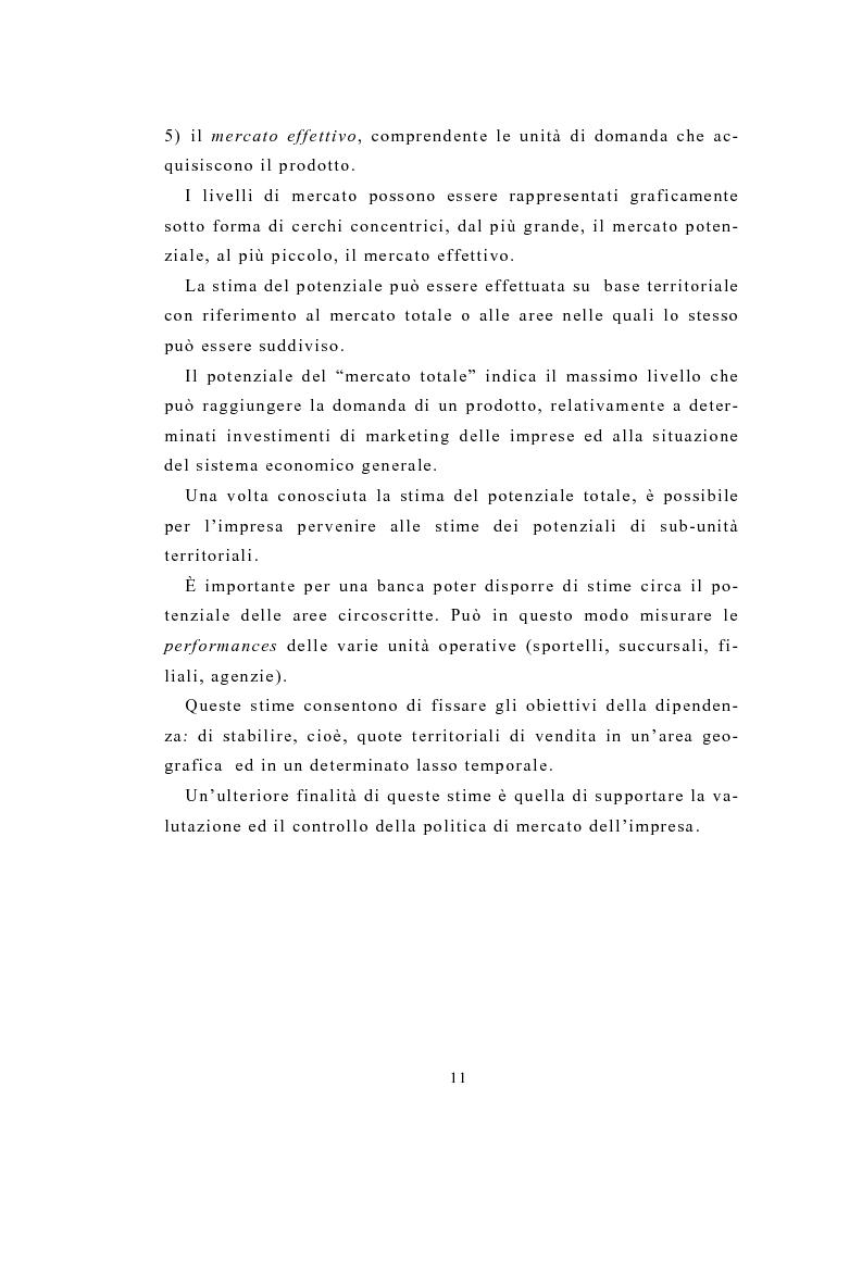 Anteprima della tesi: Definizione e stima del potenziale territoriale del mercato bancario, Pagina 9
