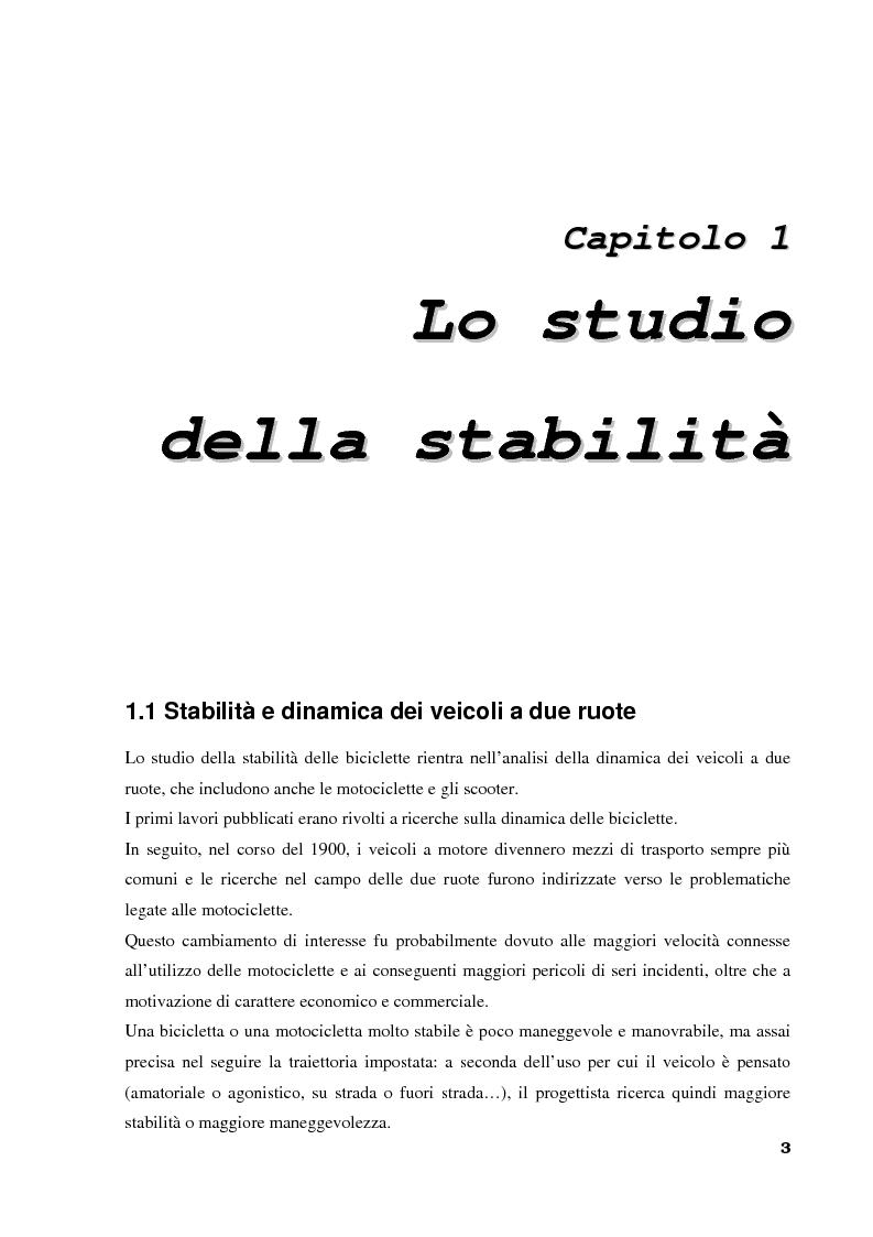 Anteprima della tesi: Stabilità e dinamica di una bicicletta per uso agonistico - Influenza dei parametri geometrici del telaio, Pagina 3