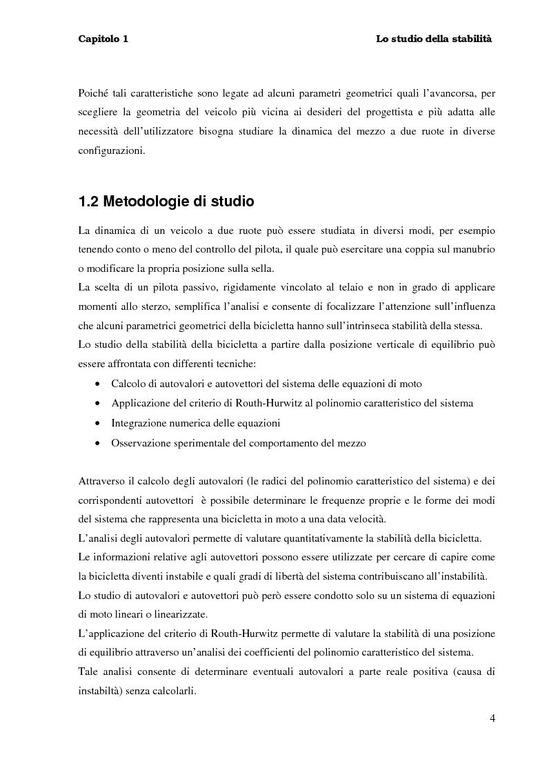 Anteprima della tesi: Stabilità e dinamica di una bicicletta per uso agonistico - Influenza dei parametri geometrici del telaio, Pagina 4
