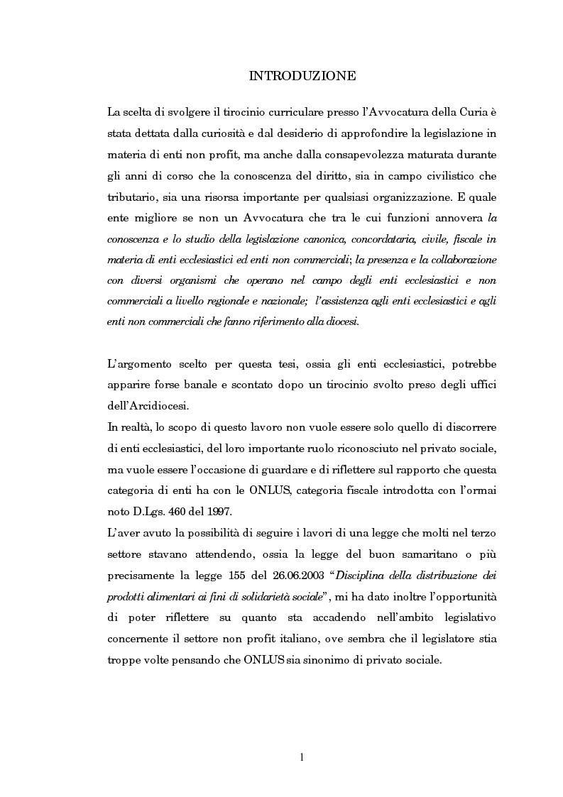 Anteprima della tesi: Quando il terzo settore non è solo Onlus: gli enti ecclesiastici, Pagina 1