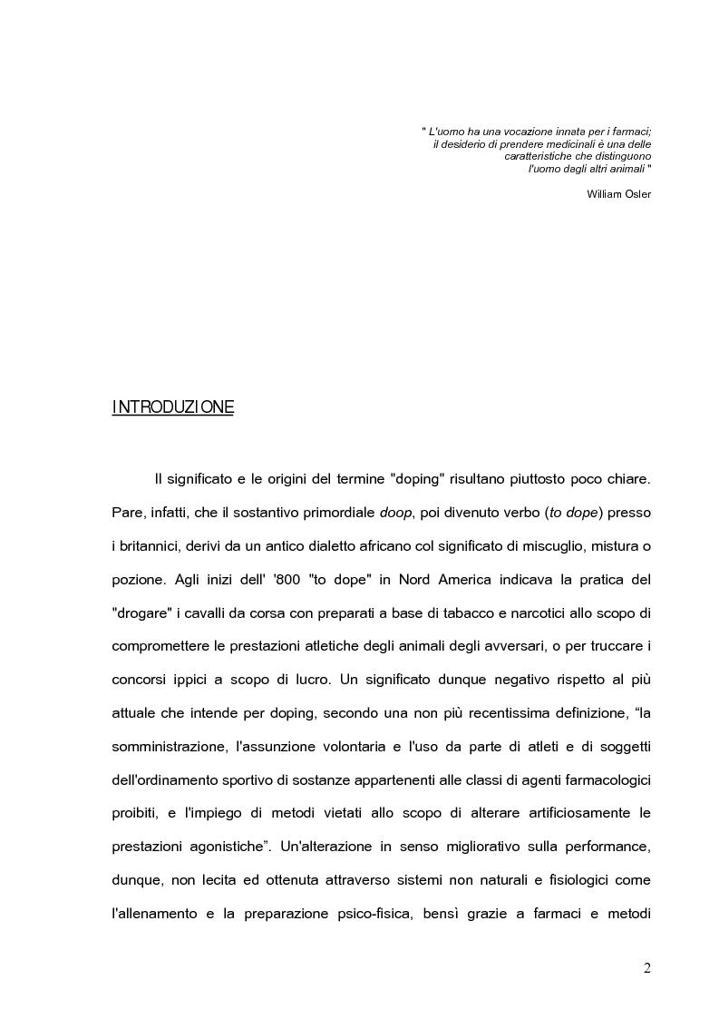 Anteprima della tesi: Nuove sostanze dopanti: effetti sull'organismo e problemi di rilevamento nei liquidi biologici, Pagina 1