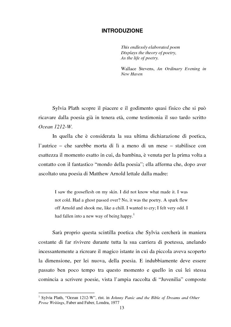 Anteprima della tesi: Sylvia Plath - Il mestiere di poetessa. Viaggio nel regno della poesia, Pagina 10