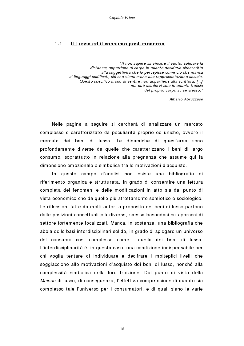 Anteprima della tesi: Gestire la sfida del lusso: il caso Chimento, Pagina 10