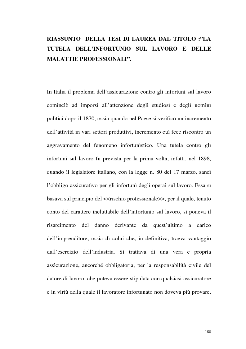 Anteprima della tesi: La tutela contro gli infortuni sul lavoro e le malattie professionali, Pagina 1