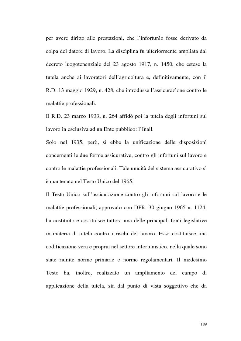 Anteprima della tesi: La tutela contro gli infortuni sul lavoro e le malattie professionali, Pagina 2