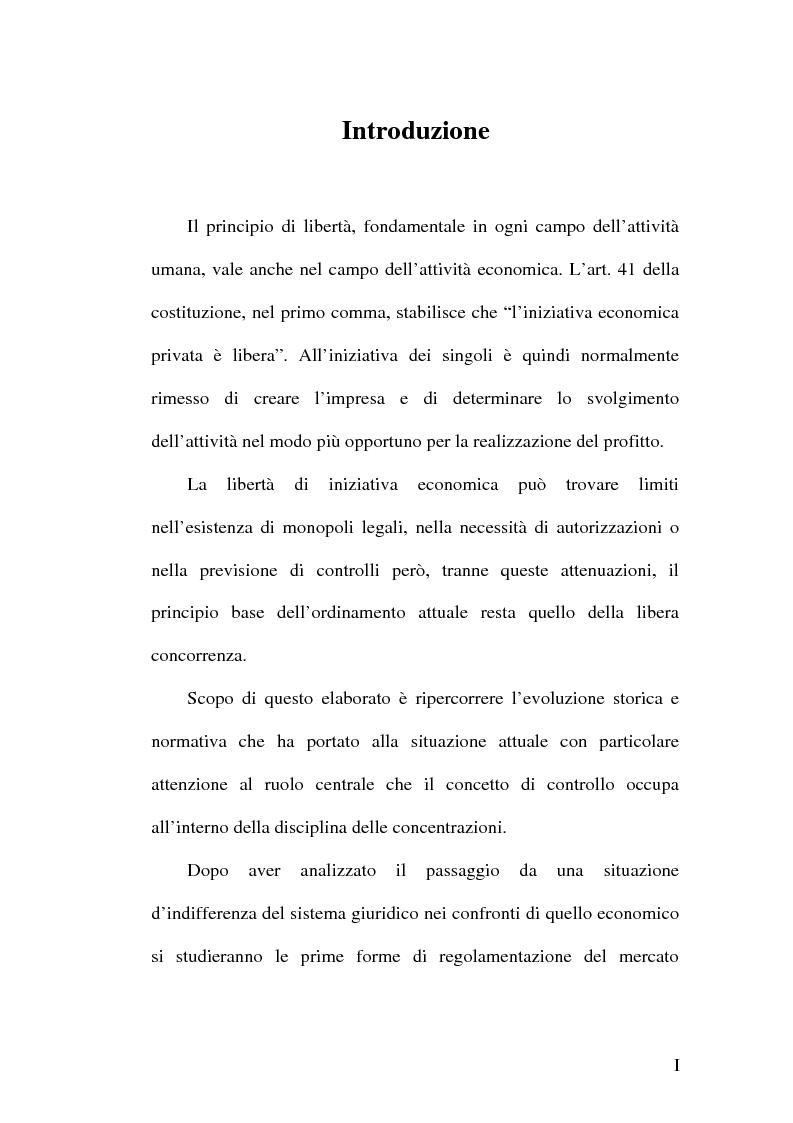 Anteprima della tesi: Controllo e concentrazioni, Pagina 1