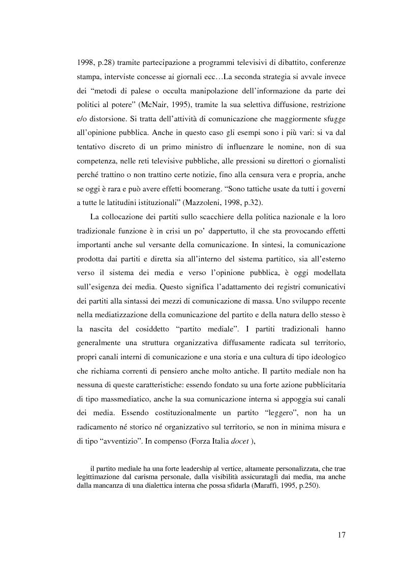 Anteprima della tesi: Comunicazione, marketing politico, elettori: le elezioni politiche del 13 Maggio 2001 in Italia, Pagina 12