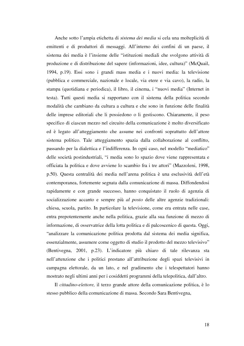 Anteprima della tesi: Comunicazione, marketing politico, elettori: le elezioni politiche del 13 Maggio 2001 in Italia, Pagina 13