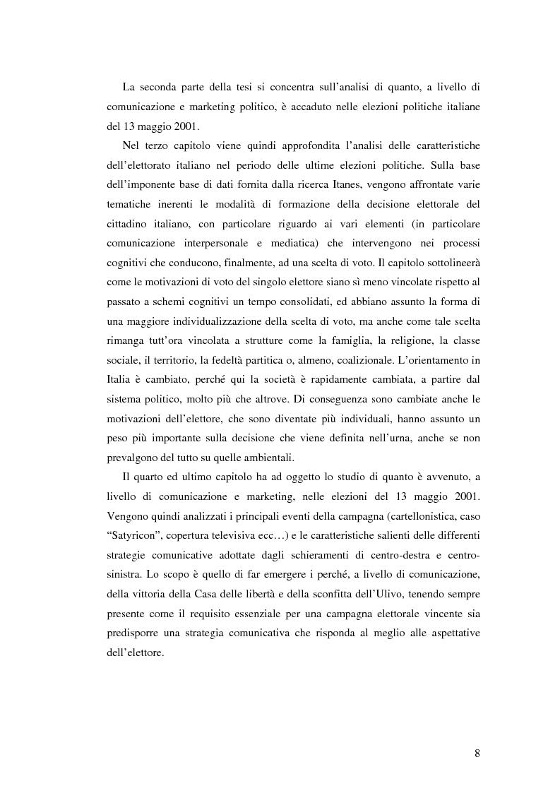 Anteprima della tesi: Comunicazione, marketing politico, elettori: le elezioni politiche del 13 Maggio 2001 in Italia, Pagina 3