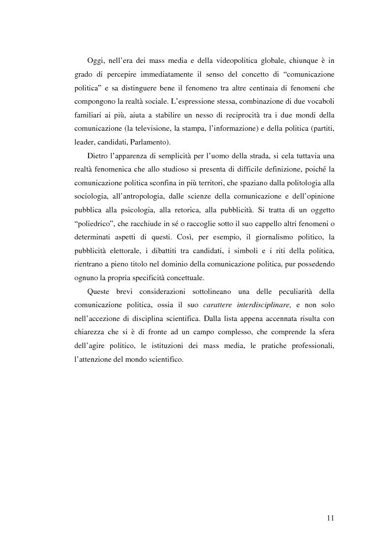 Anteprima della tesi: Comunicazione, marketing politico, elettori: le elezioni politiche del 13 Maggio 2001 in Italia, Pagina 6