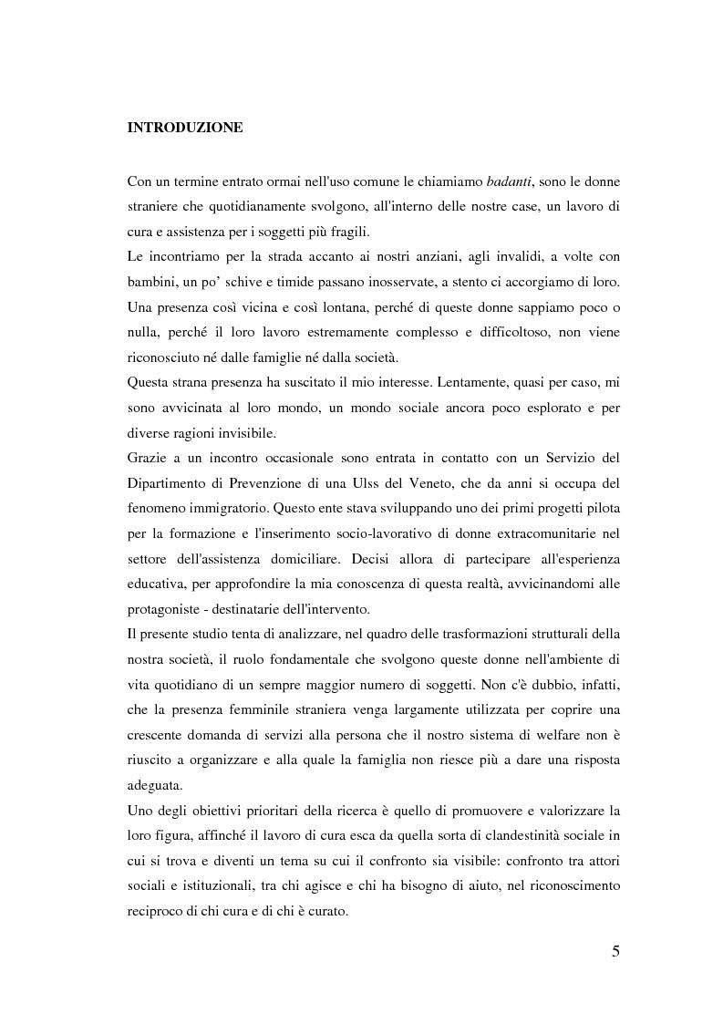 Anteprima della tesi: Donne extracomunitarie nel settore dell'assistenza domiciliare. Un progetto pilota per il loro inserimento socio-lavorativo, Pagina 1