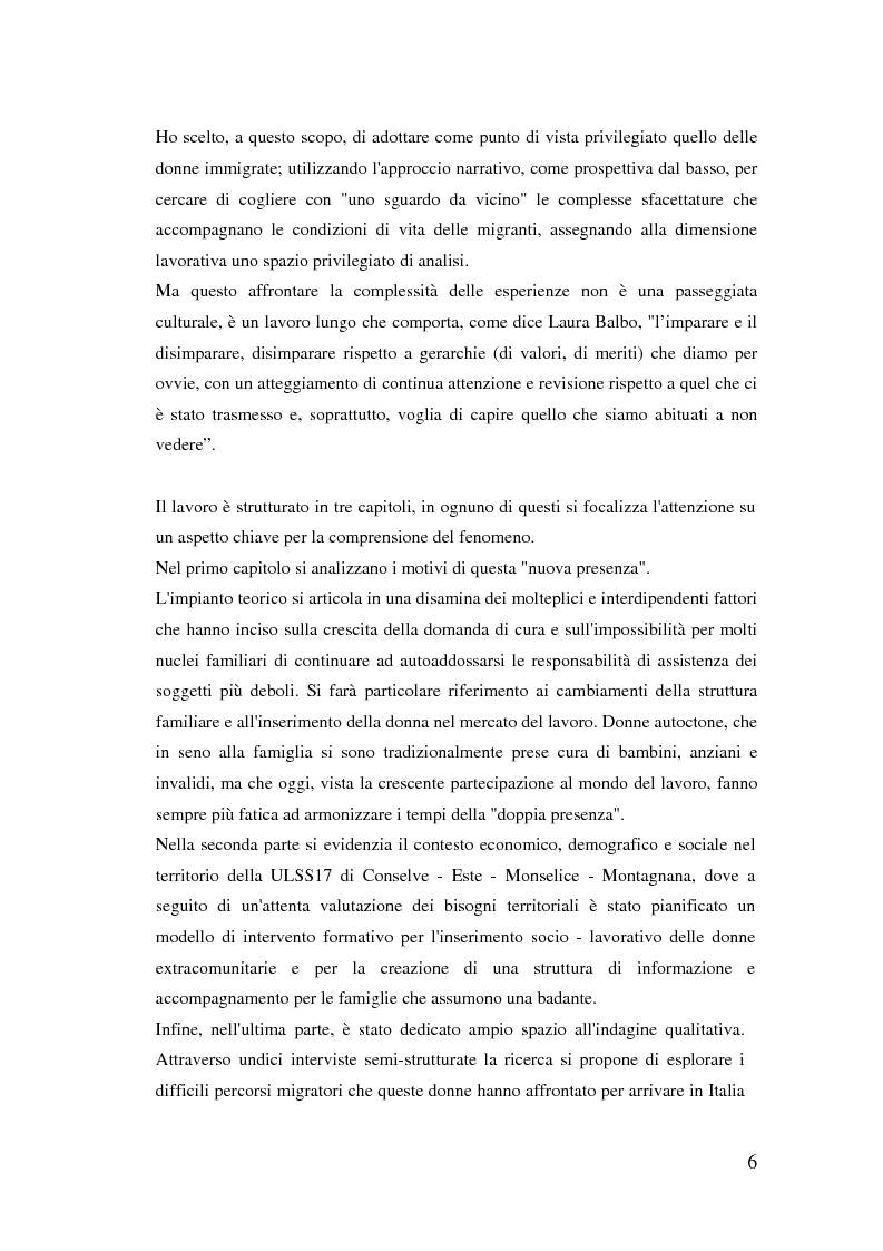 Anteprima della tesi: Donne extracomunitarie nel settore dell'assistenza domiciliare. Un progetto pilota per il loro inserimento socio-lavorativo, Pagina 2