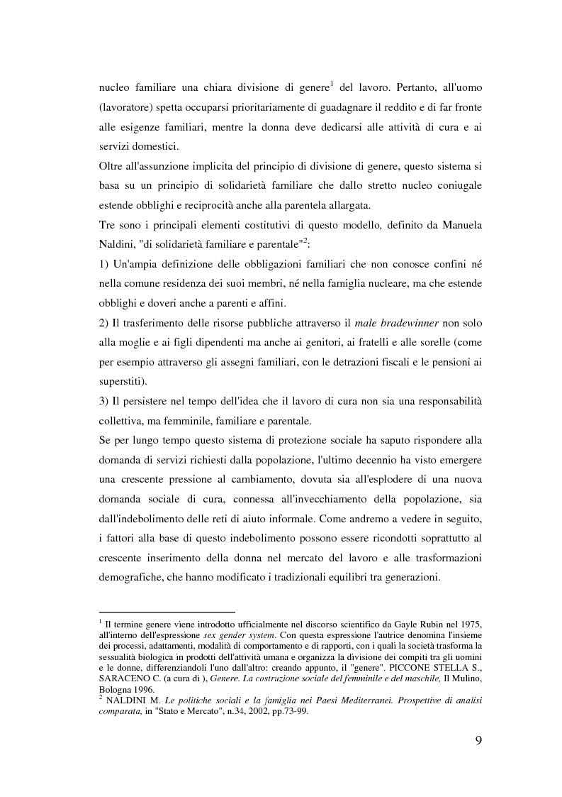 Anteprima della tesi: Donne extracomunitarie nel settore dell'assistenza domiciliare. Un progetto pilota per il loro inserimento socio-lavorativo, Pagina 5