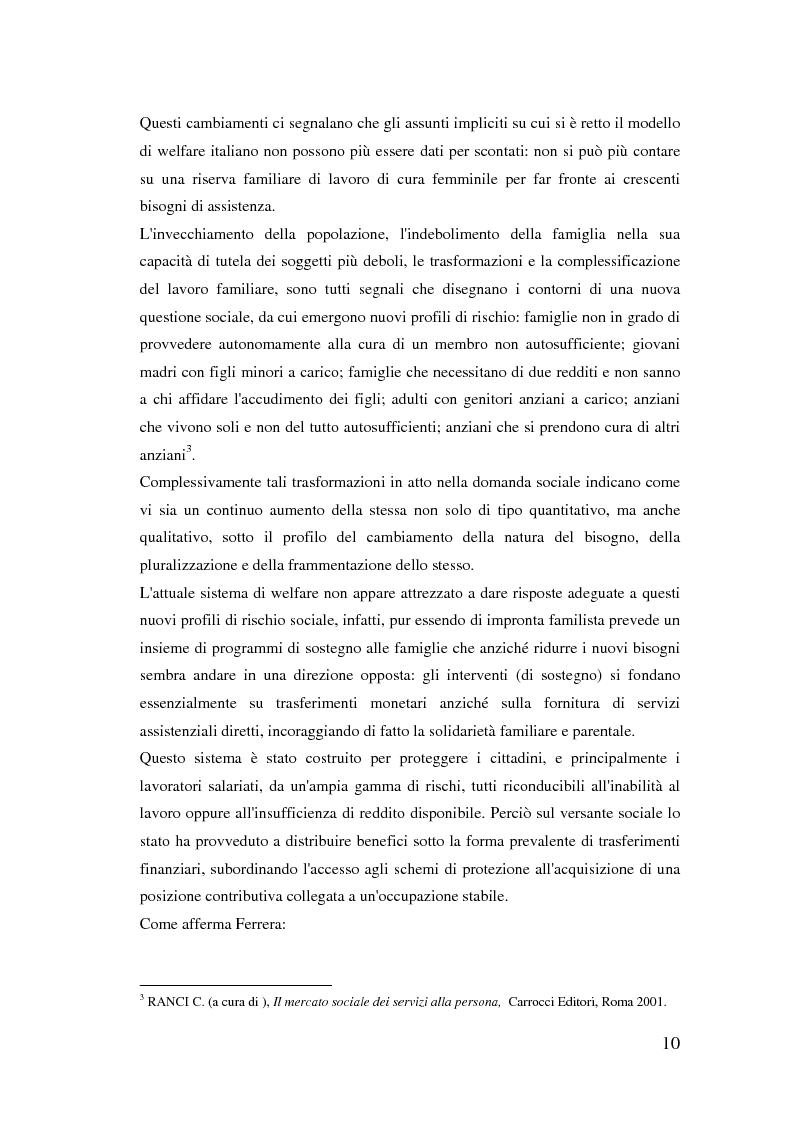 Anteprima della tesi: Donne extracomunitarie nel settore dell'assistenza domiciliare. Un progetto pilota per il loro inserimento socio-lavorativo, Pagina 6