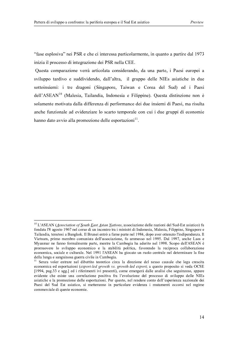 Anteprima della tesi: Pattern di sviluppo a confronto: la periferia europea e il Sud-est asiatico, Pagina 14