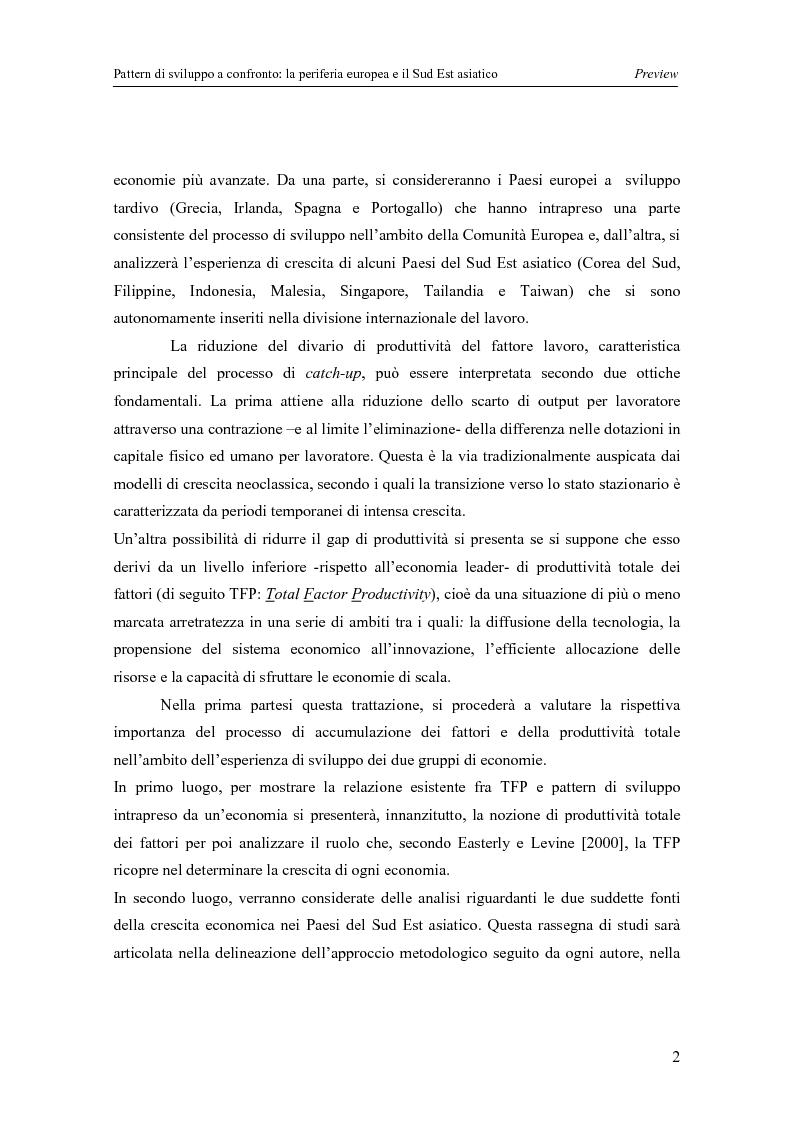 Anteprima della tesi: Pattern di sviluppo a confronto: la periferia europea e il Sud-est asiatico, Pagina 2