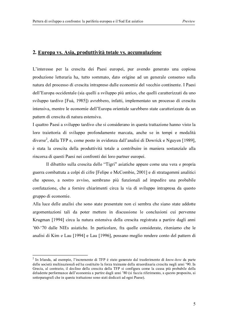 Anteprima della tesi: Pattern di sviluppo a confronto: la periferia europea e il Sud-est asiatico, Pagina 5