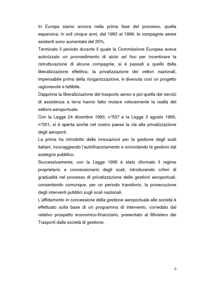 Anteprima della tesi: Strategie concorrenziali nell'handling aeroportuale: il caso Alitalia Airport, Pagina 10