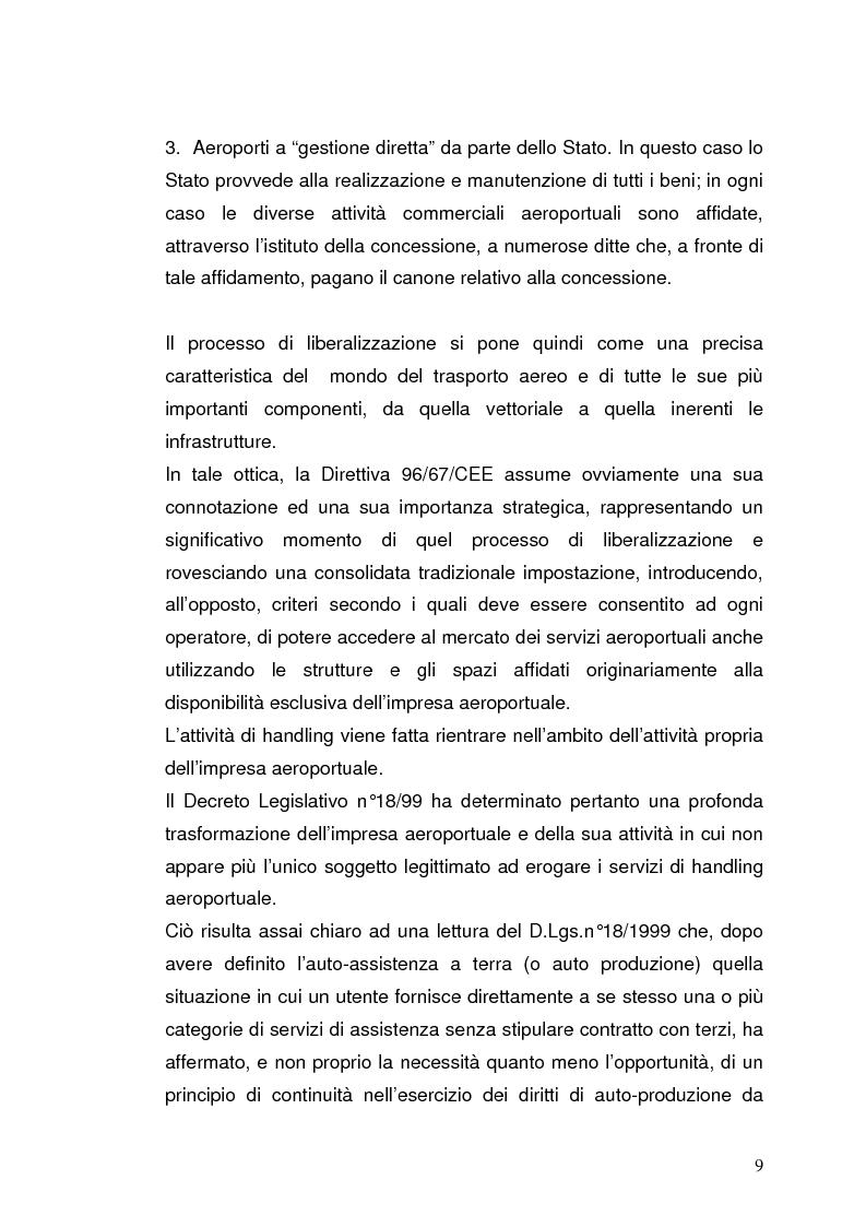 Anteprima della tesi: Strategie concorrenziali nell'handling aeroportuale: il caso Alitalia Airport, Pagina 13