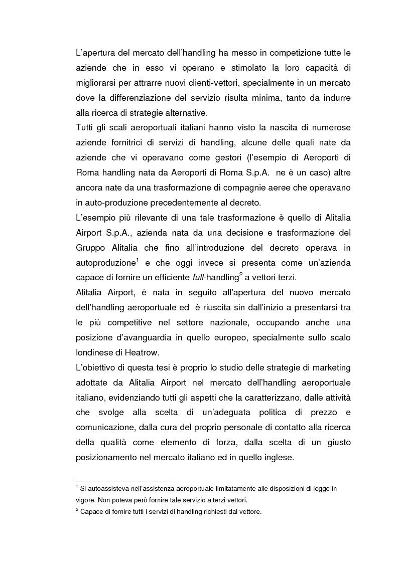 Anteprima della tesi: Strategie concorrenziali nell'handling aeroportuale: il caso Alitalia Airport, Pagina 2