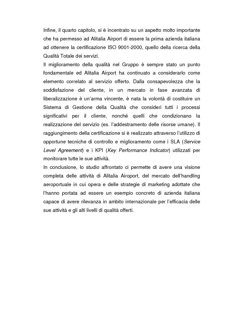 Anteprima della tesi: Strategie concorrenziali nell'handling aeroportuale: il caso Alitalia Airport, Pagina 4