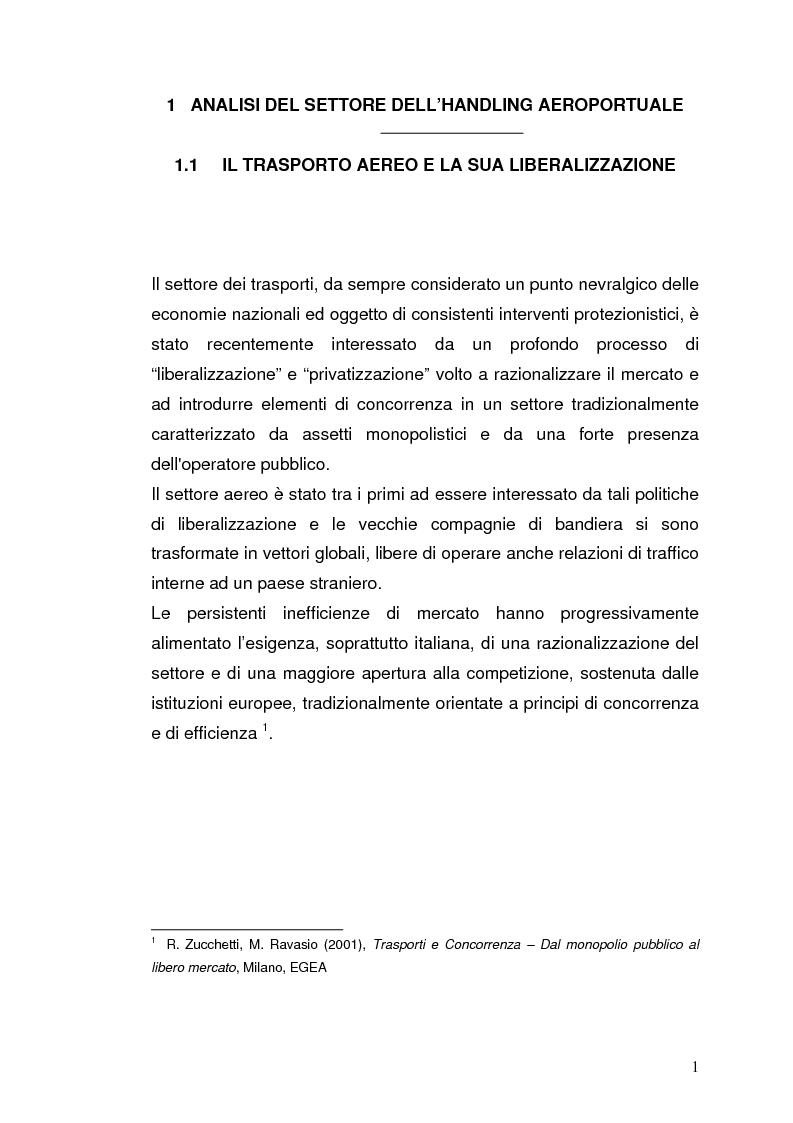 Anteprima della tesi: Strategie concorrenziali nell'handling aeroportuale: il caso Alitalia Airport, Pagina 5
