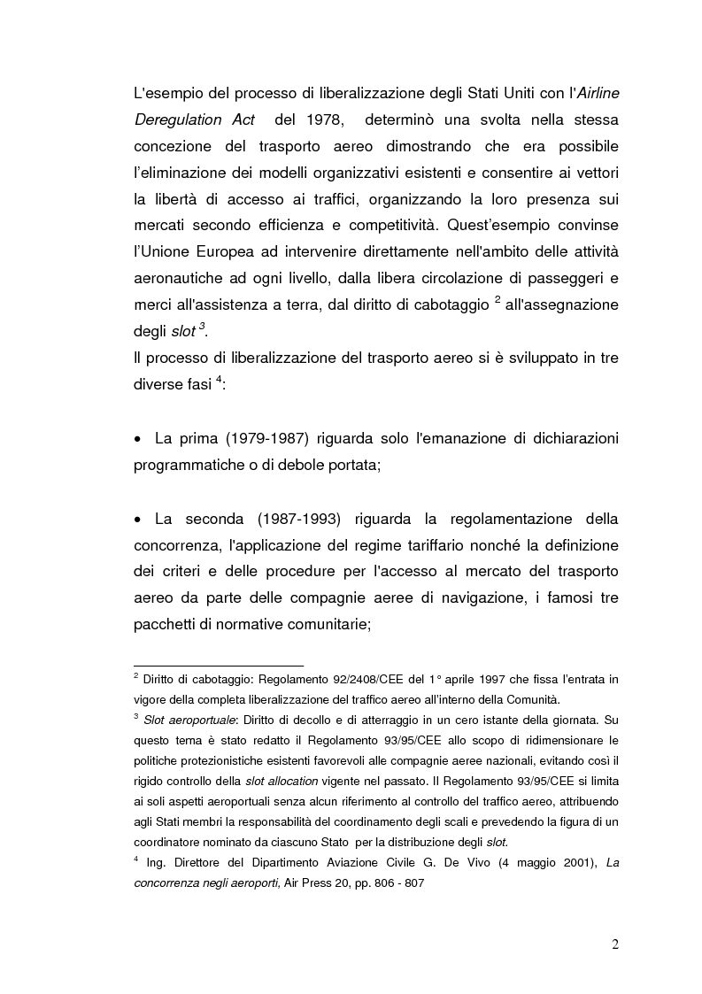 Anteprima della tesi: Strategie concorrenziali nell'handling aeroportuale: il caso Alitalia Airport, Pagina 6