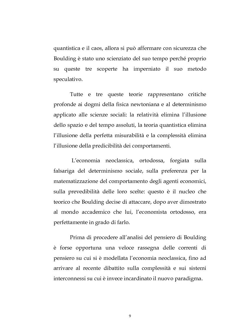 Anteprima della tesi: Kenneth Ewert Boulding e l'analisi economica del XX secolo: evoluzione, ordine, complessità, Pagina 4