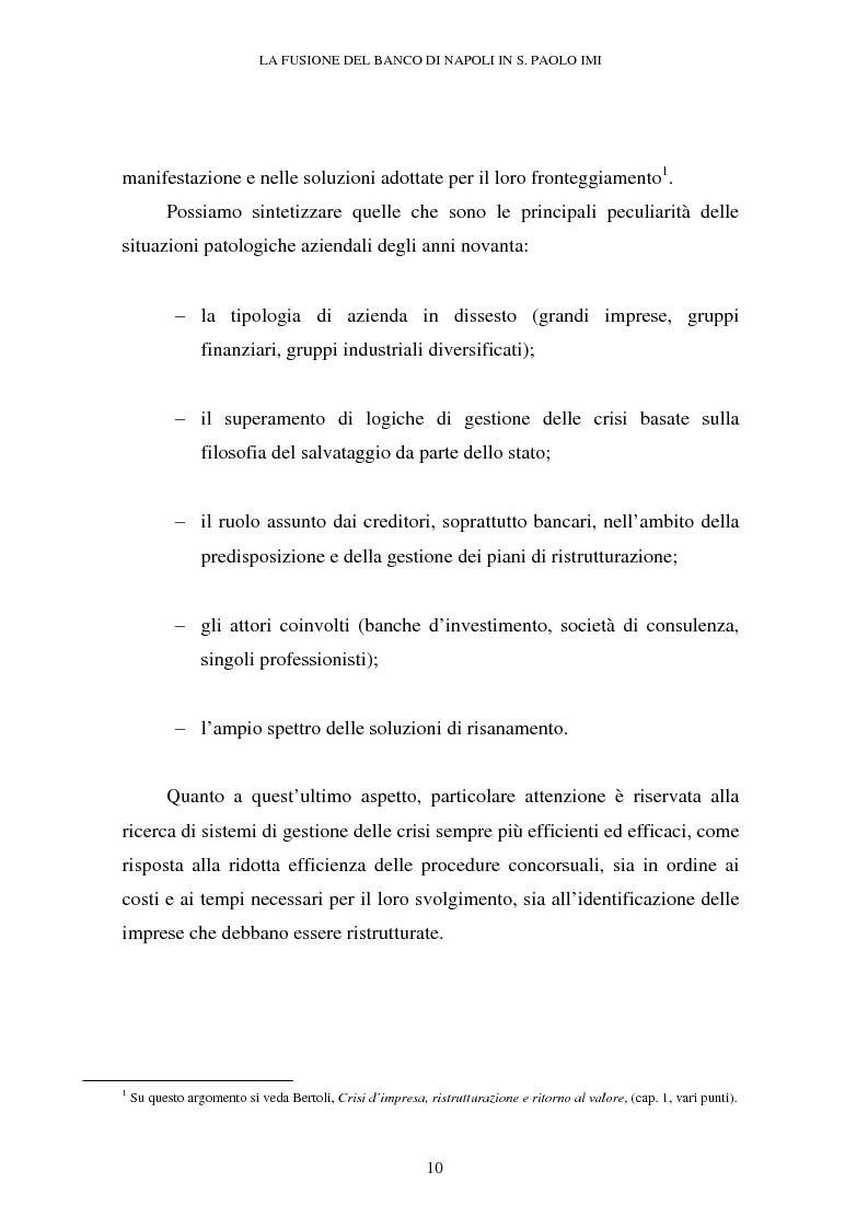 Anteprima della tesi: Le crisi d'impresa e le problematiche di risanamento. Il tormentato processo di ristrutturazione del Banco di Napoli, Pagina 6