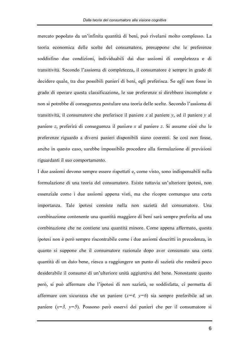 Anteprima della tesi: Il comportamento dei consumatori: la teoria economica e l'influenza dei fattori psicologici e sociali nelle dinamiche di formazione delle preferenze e nei processi decisionali, Pagina 6