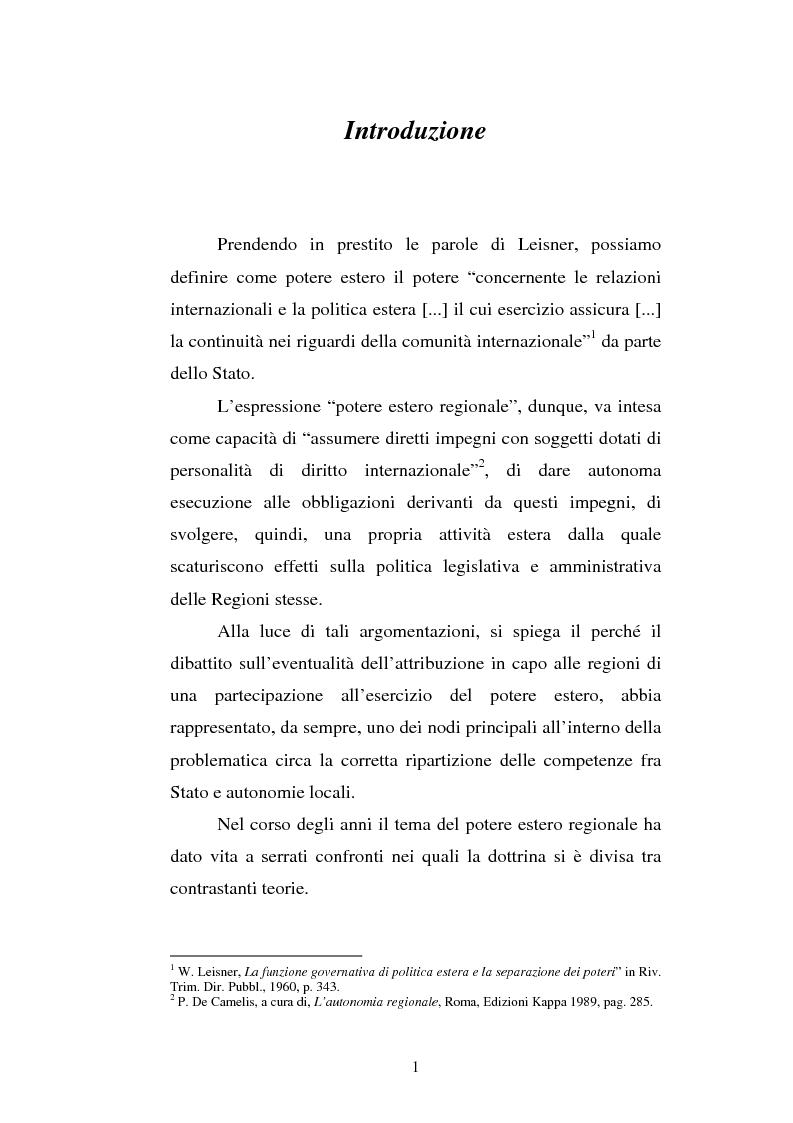 Anteprima della tesi: Il potere estero delle Regioni - Analisi della dottrina e della giurisprudenza, Pagina 1