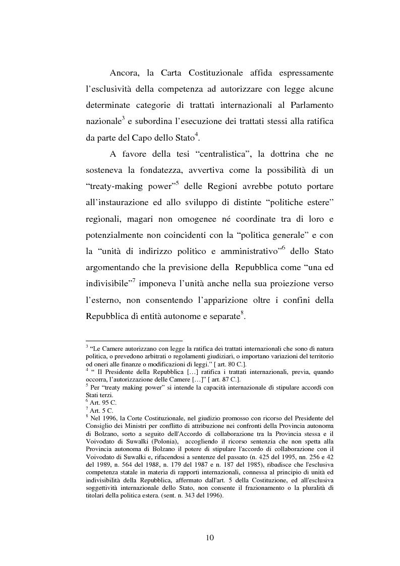 Anteprima della tesi: Il potere estero delle Regioni - Analisi della dottrina e della giurisprudenza, Pagina 10
