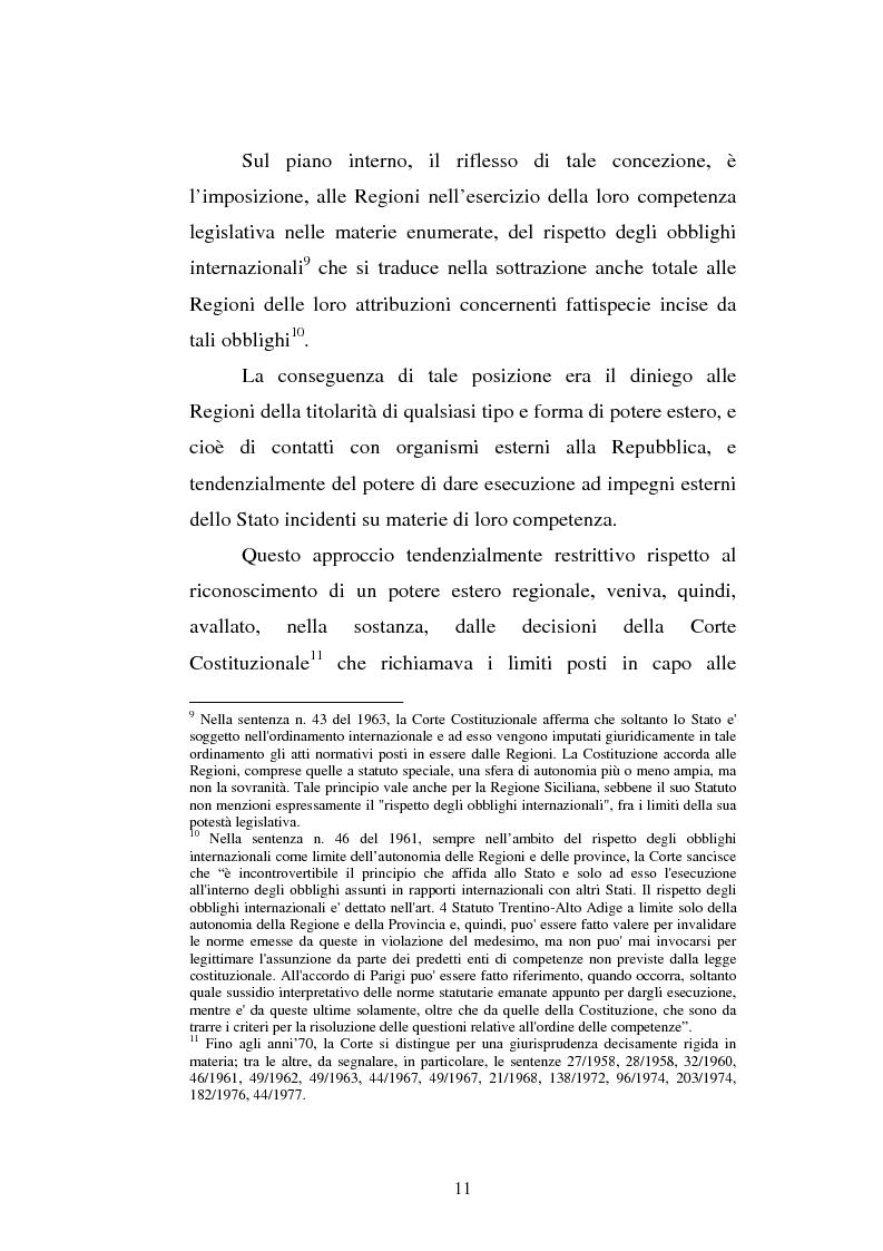 Anteprima della tesi: Il potere estero delle Regioni - Analisi della dottrina e della giurisprudenza, Pagina 11