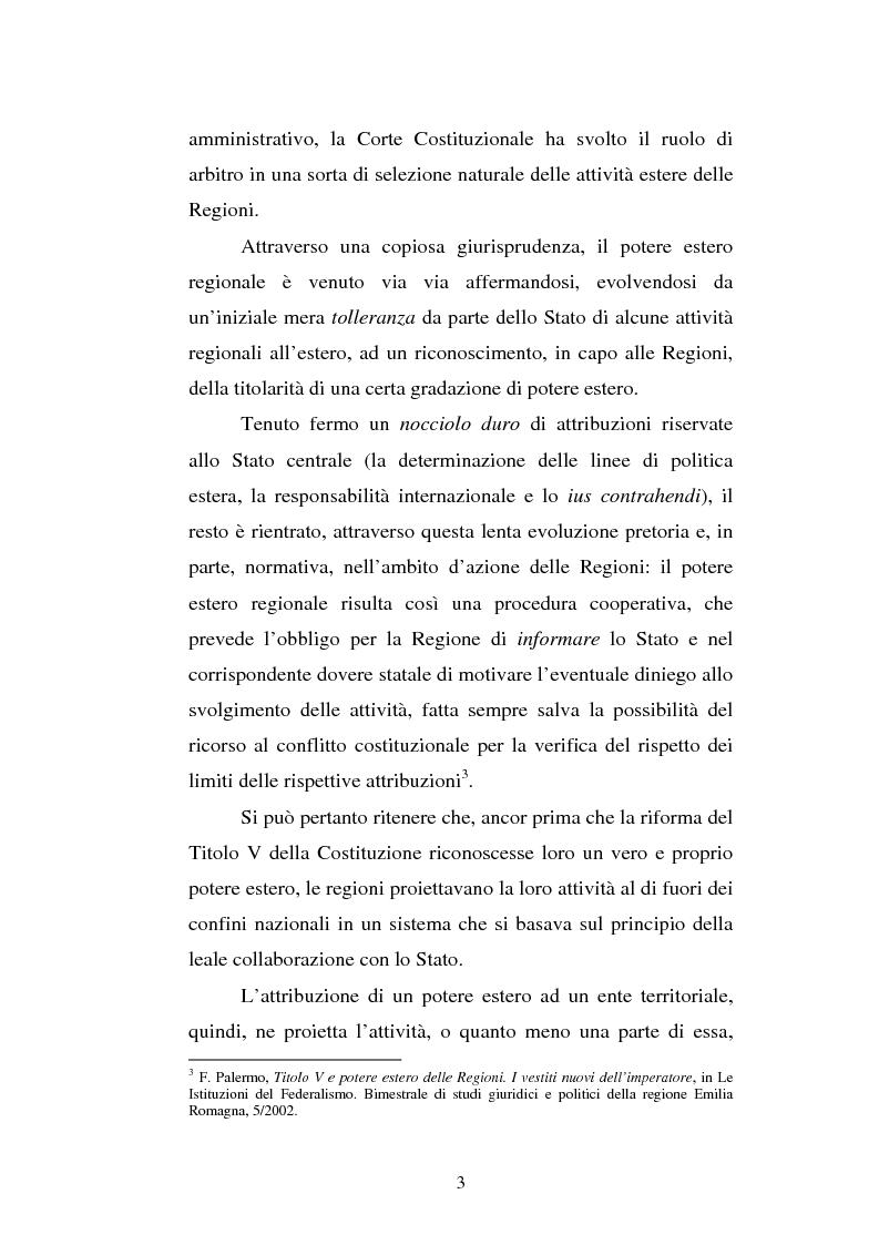 Anteprima della tesi: Il potere estero delle Regioni - Analisi della dottrina e della giurisprudenza, Pagina 3