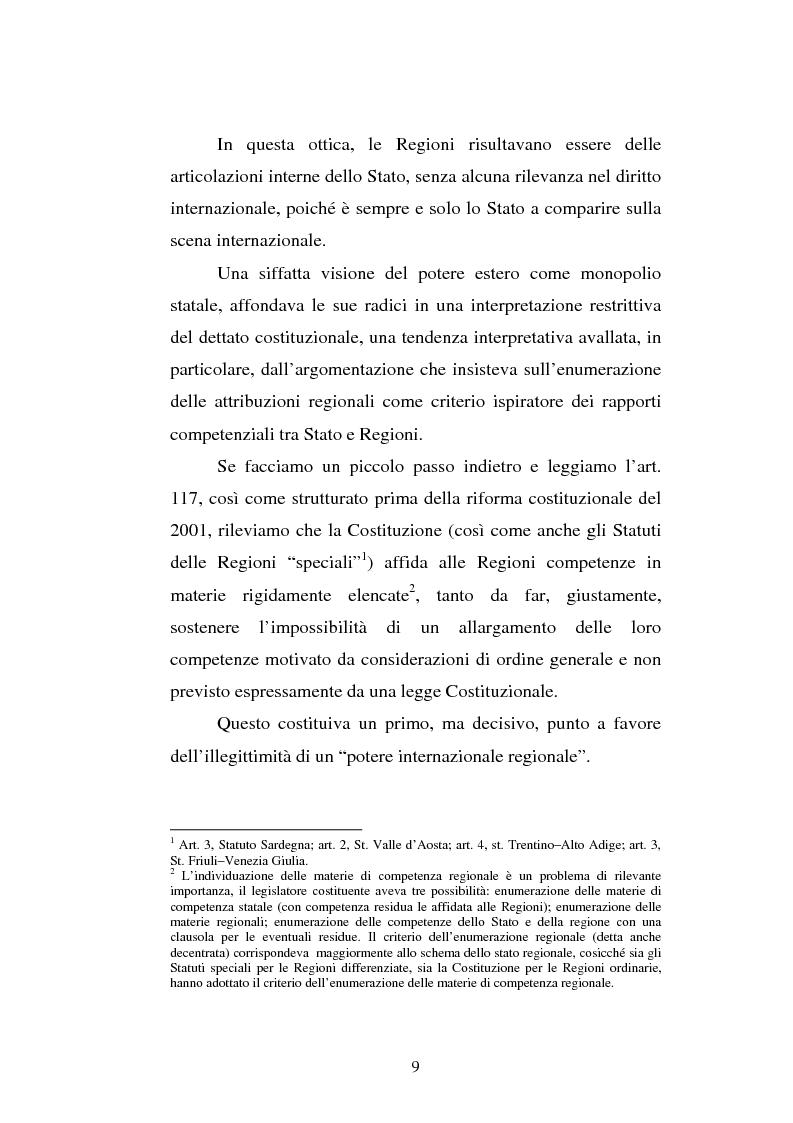 Anteprima della tesi: Il potere estero delle Regioni - Analisi della dottrina e della giurisprudenza, Pagina 9