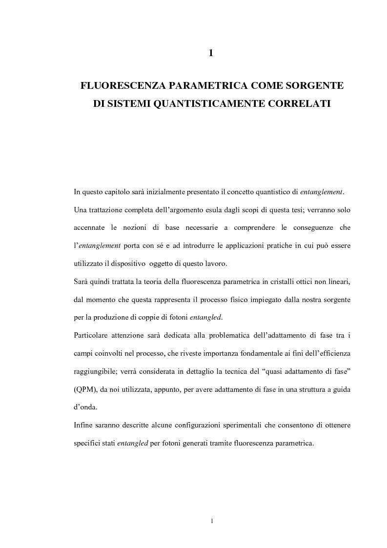 Anteprima della tesi: Studio di un dispositivo in guida d'onda a canale su substrato di niobato di litio periodicamente polarizzato per la generazione di fotoni quantisticamente correlati mediante fluorescenza parametrica, Pagina 4