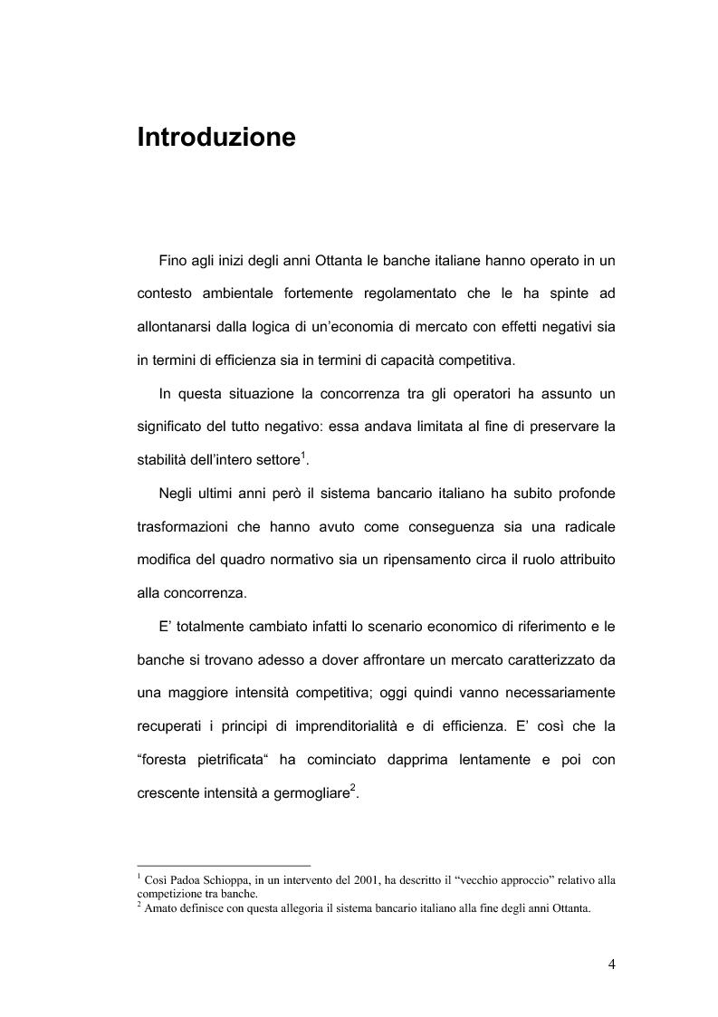 Anteprima della tesi: La concorrenza nel settore bancario, Pagina 1