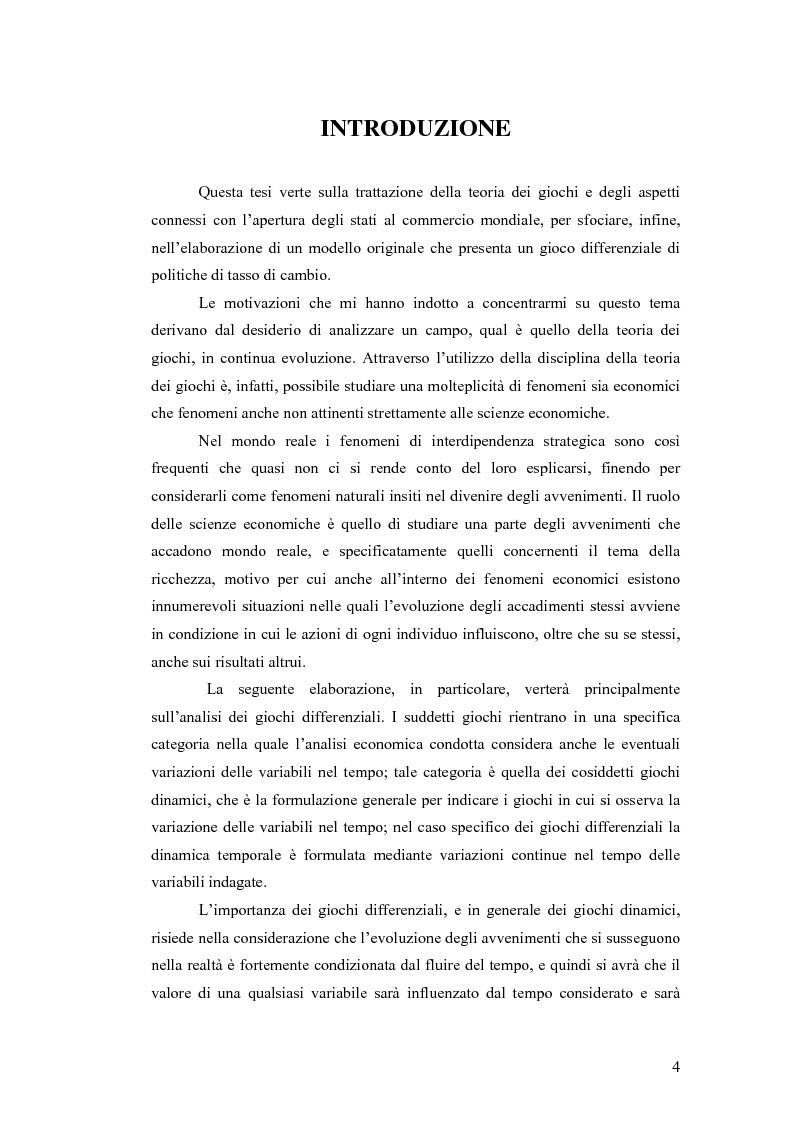 Anteprima della tesi: Giochi differenziali di economia aperta, Pagina 1
