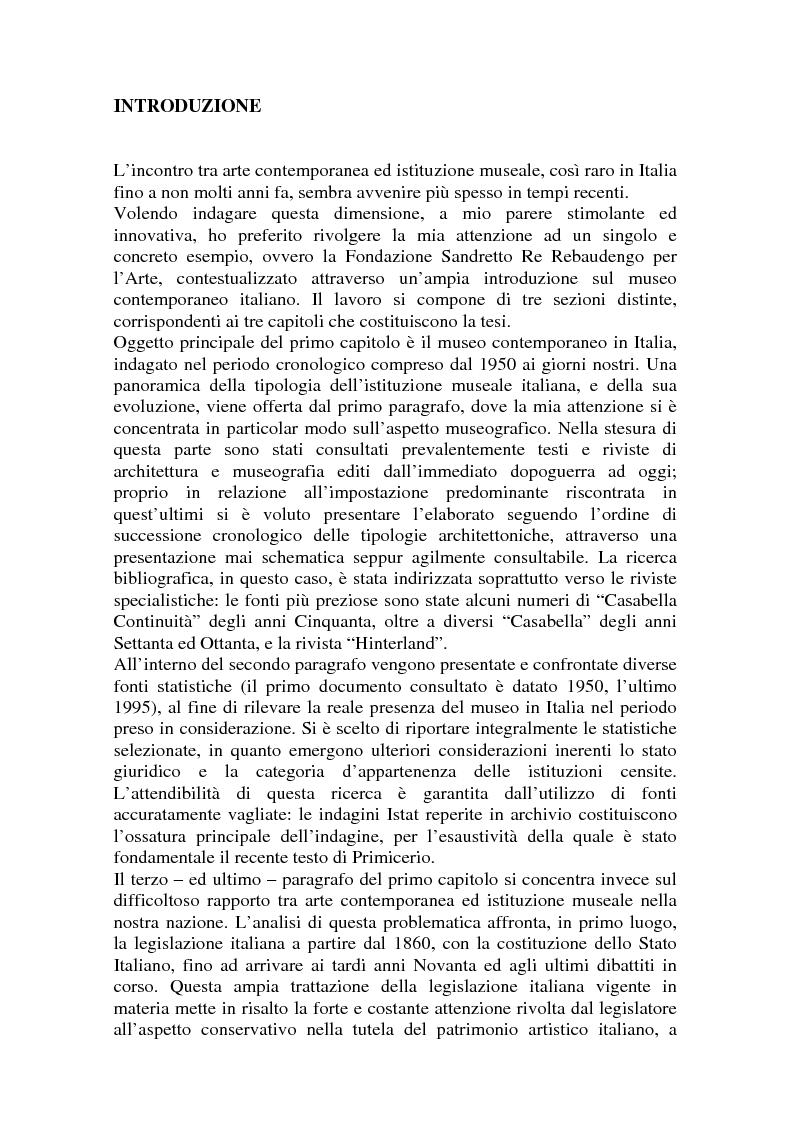 Anteprima della tesi: La Fondazione Sandretto Re Rebaudengo per l'arte: un esempio di museo d'arte contemporanea in Italia, Pagina 1