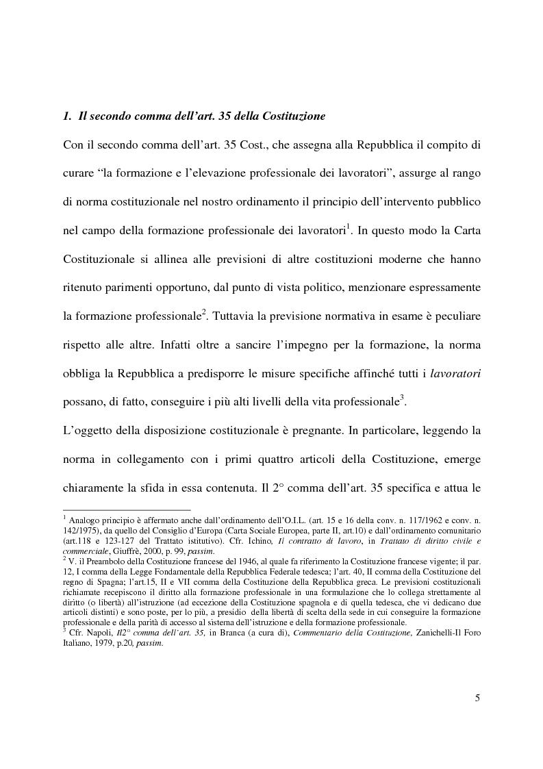 Anteprima della tesi: Formazione e contratto di lavoro, Pagina 1