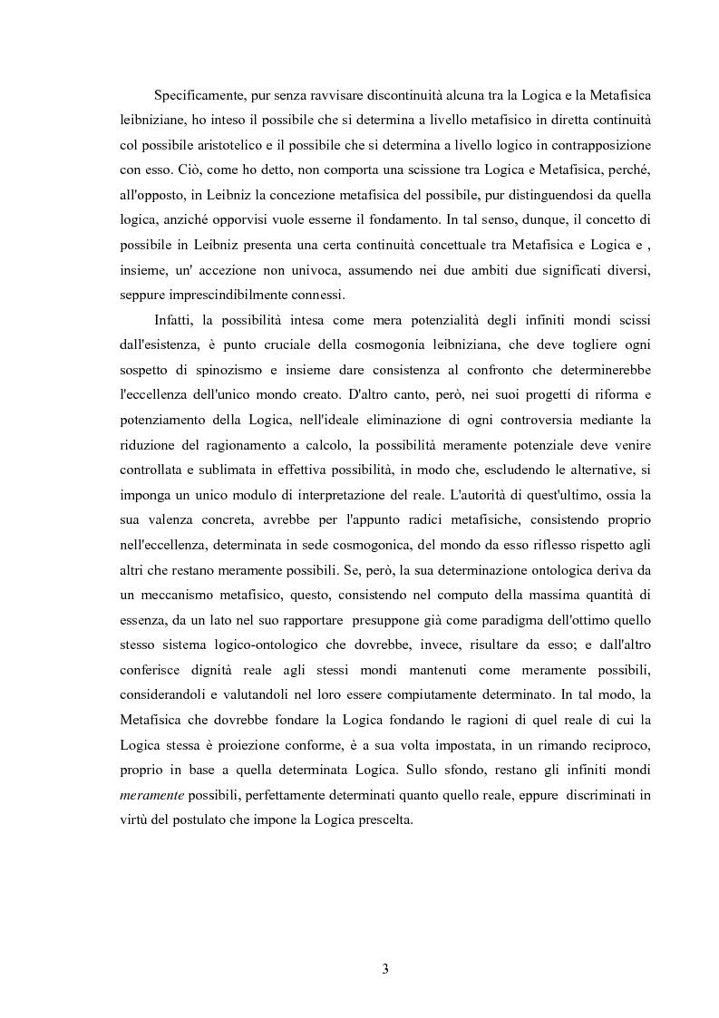 Anteprima della tesi: Il concetto di possibile in Leibniz, Pagina 3